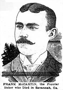 "Picture from Lowell Sun March 17, 1898, labeled ""Frank McCartin, the Popular Baker who Died in Savannah, Ga."""