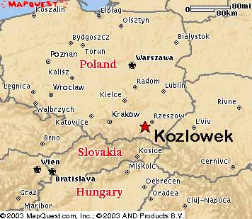 Map showing the location of Kozlowek in Southern Poland, just north of Slovakia