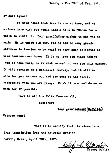 Photocopy of typed letter to Agnes from grandmother in Sweden.