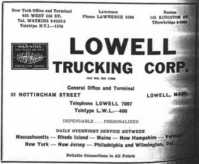 City directory ad for Lowell Trucking Company about 1950