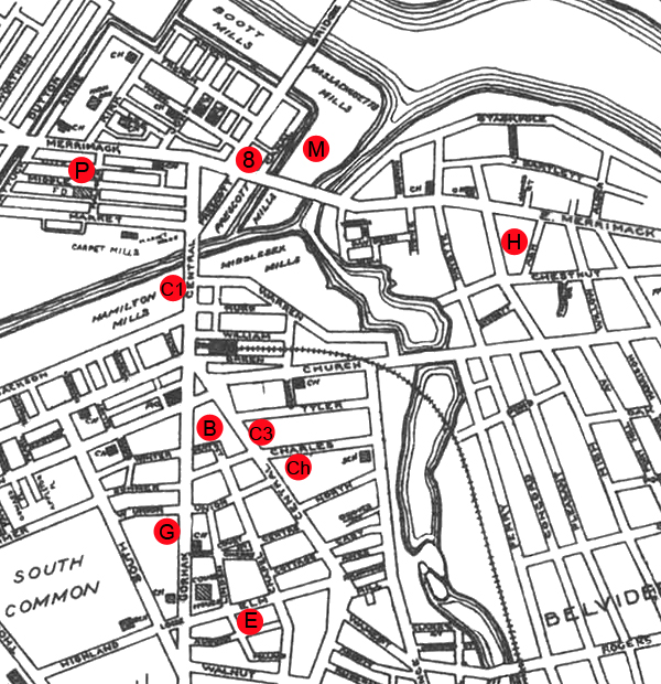 Map showing location of jobs and residences for the people in this story.
