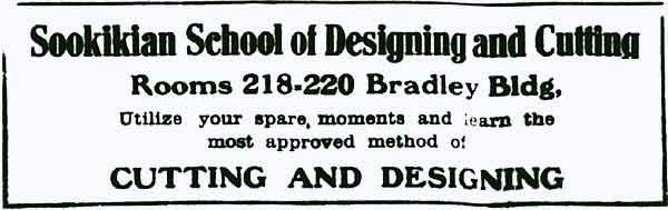 City Business Directory ad for Sookikian School of Designing and Cutting