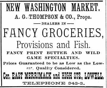 City Business Directory ad  for New Washing Market, A.G. Thompson, proprietor