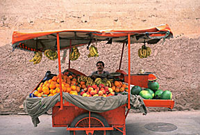 Shaka Saba may have used a fruit cart like this in modern Marrakech Souk, Morocco. From the Seton Hall Library Gallery, photo by Tamara Hill.
