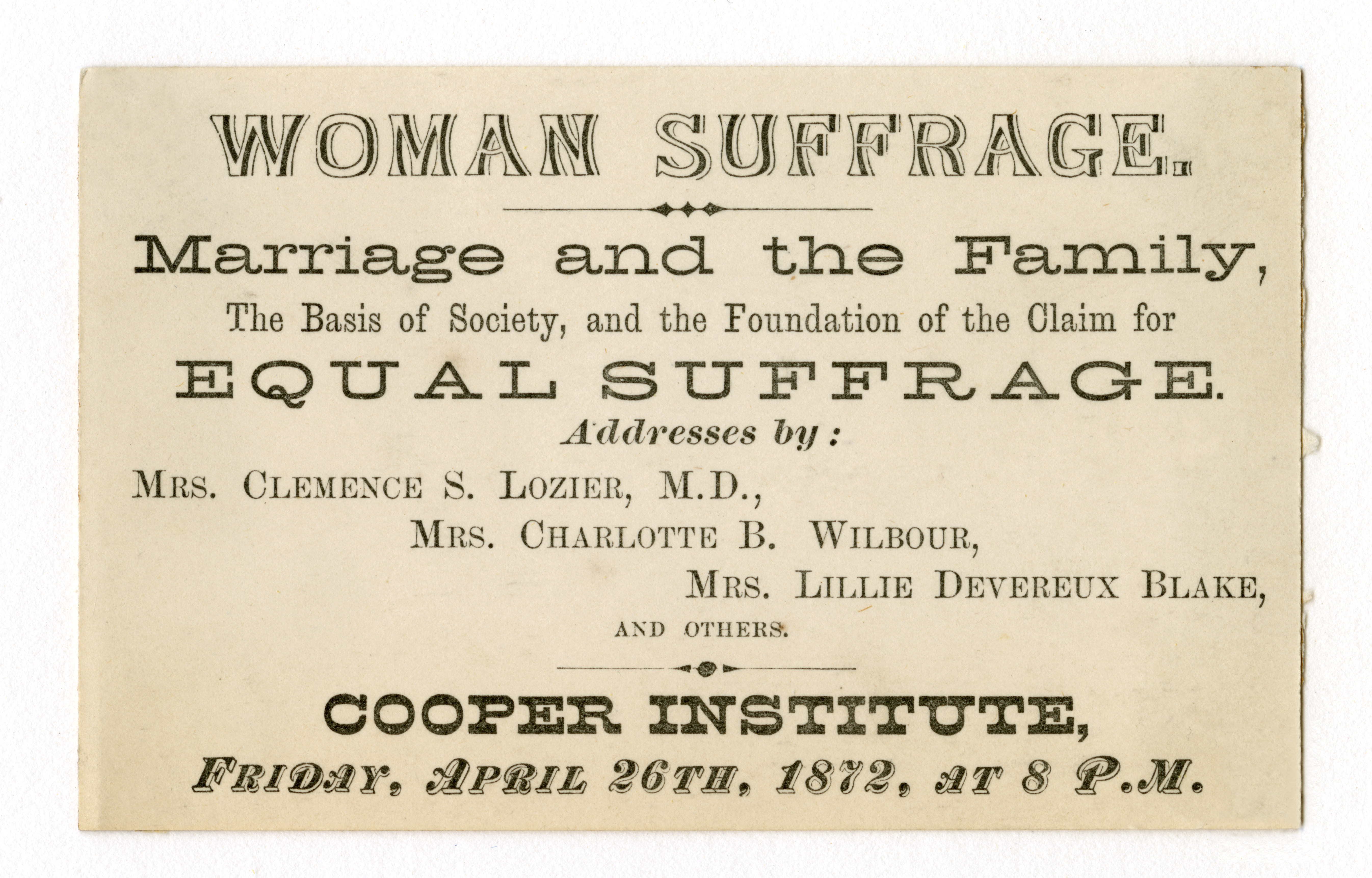 Ticket to Women Suffrage meeting in the Great Hall