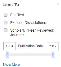 Limit to options (full text, exclude dissertations, scholarly jornals, publication date