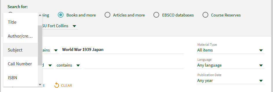 Subject search contains World War 1939 Japan