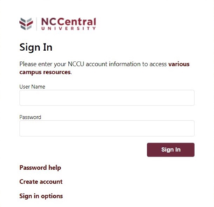 NCCU Username and Password