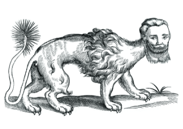 Black and white coloring page of a manticore