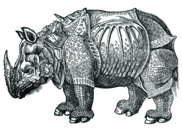 Black and white coloring page of a rhino