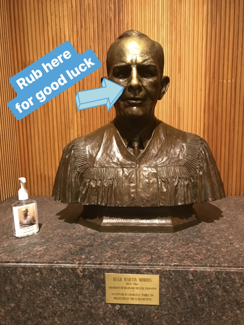 The bust of Judge Morris with an arrow pointing to his nose.