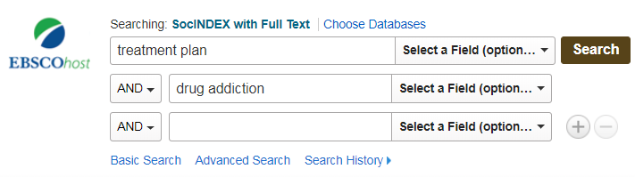 Screenshot: Keywords in the first and second database search fields