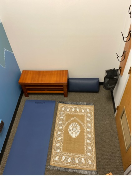 Reflection Room includes yoga & prayer mats,  a small bench, more.