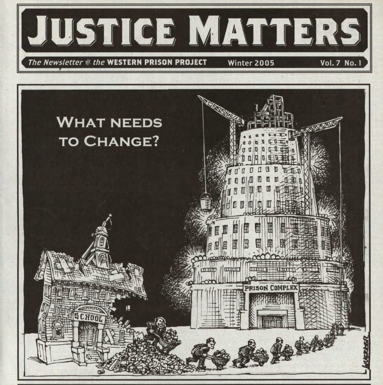 justice matters prison newsletter cover school to prison pipeline artwork
