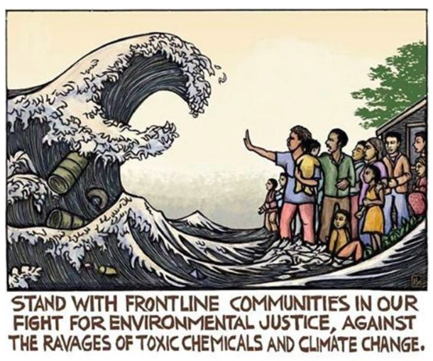 climate change artwork block print ocean wave