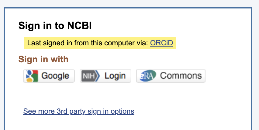 Screenshot of the NCBI sign in page displaying the eRA Commons button