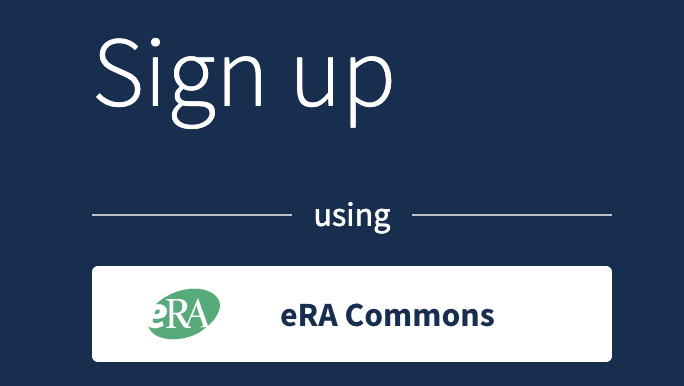The NCBI account sign up page showing the option for signing up using eRA Commons