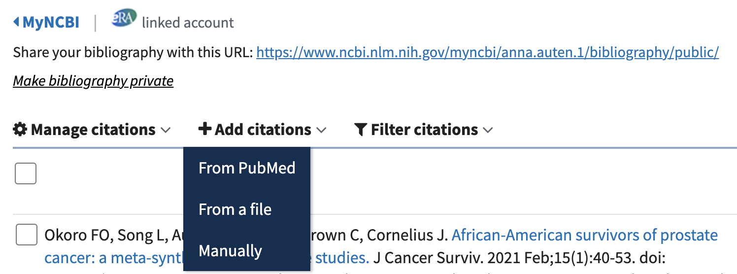 """The """"Add citations"""" menu in My Bibliography showing the """"From PubMed"""" option"""
