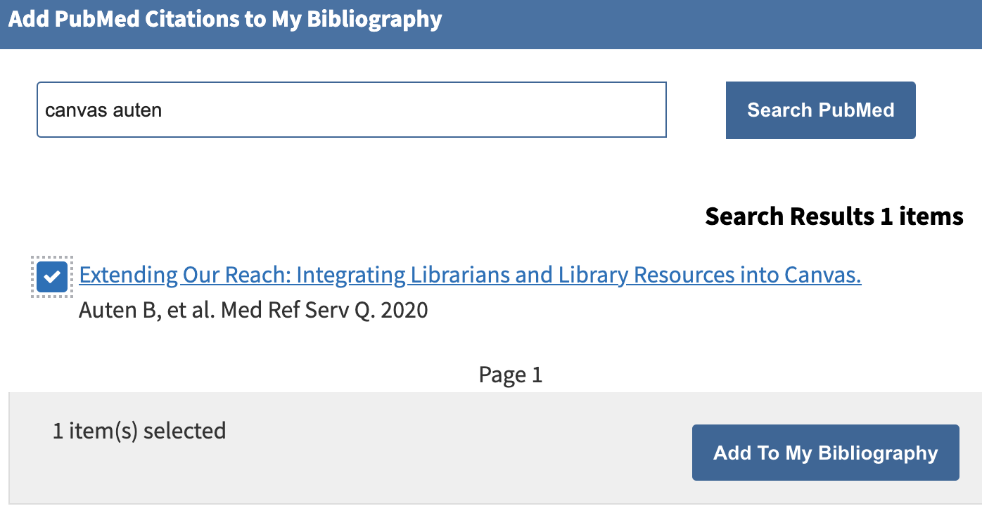 """The """"Add PubMed Citations to My Bibliography"""" pop-up window showing a check box next to a selected citation and the """"Add To My Bibliography"""" button"""