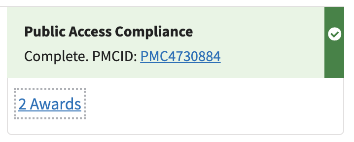 An example of a compliant publication in My Bibliography including the PMCID number for the article and the linked awards