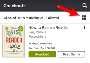On the Checkouts screen, use the icon near the top right to toggle the layout.