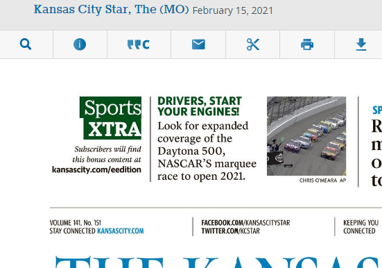 Screenshot of KC Star front page ad for eEdition version of newspaper