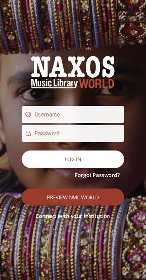 Naxos Music Library World app login