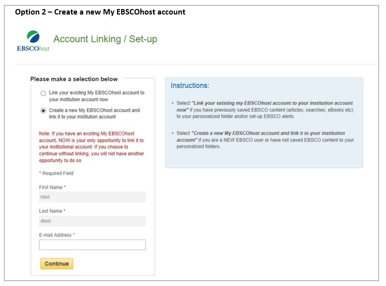 Option 2 - Create a new my EBSCO host account