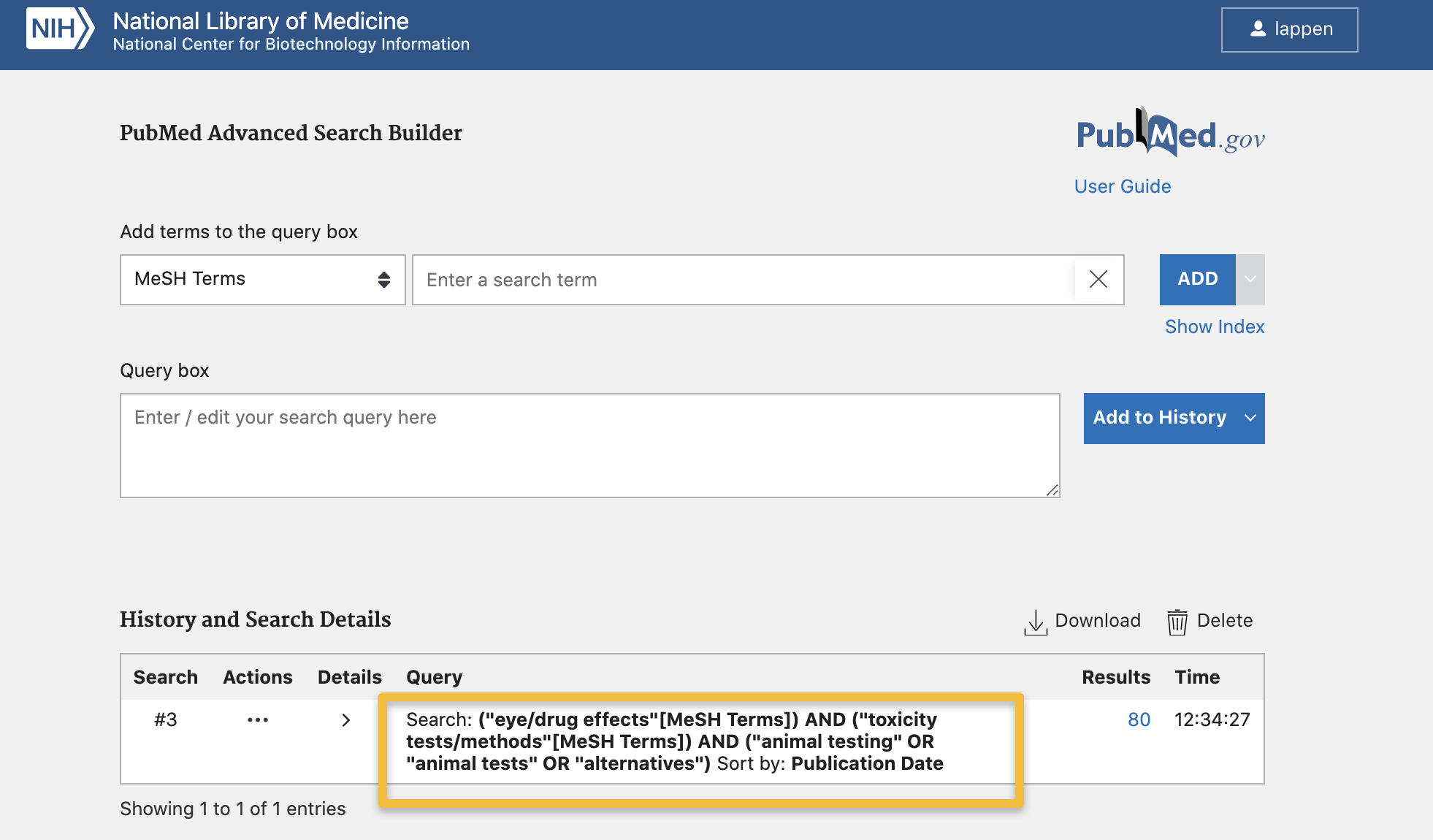 Screencapture of PubMed Advanced Search Page highlighting search strategy as reported in search history