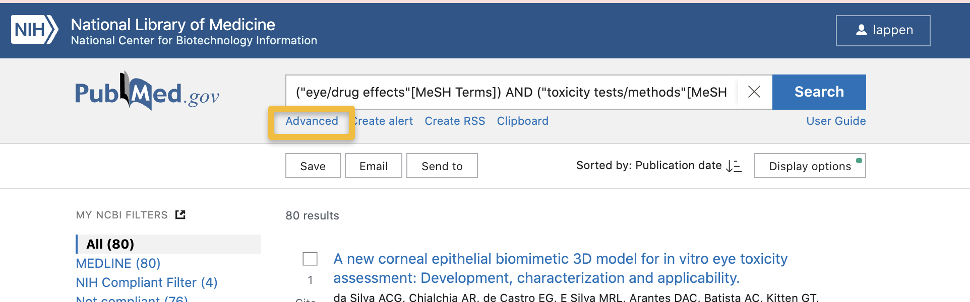 "Screencapture of PubMed results page highlighting ""Advanced"" link under main search bar"