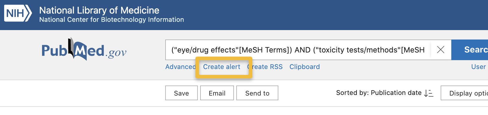 "Screencapture of Pubmed page highlighting ""Create Alert"" link under main search bar"
