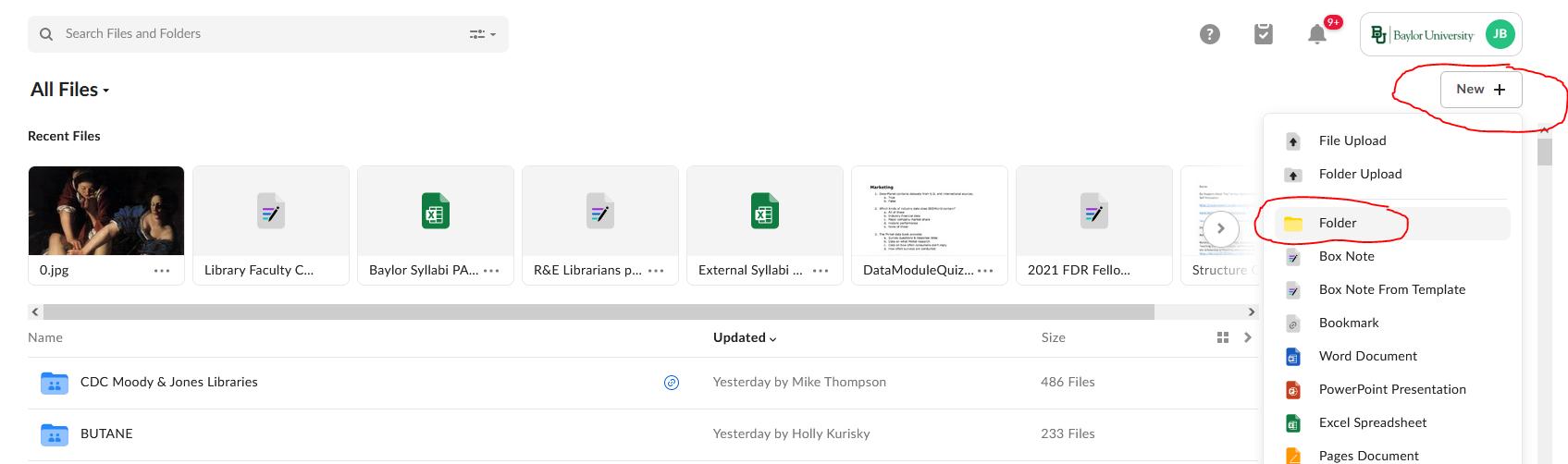 screenshot  showing how to create a new folder i n Box