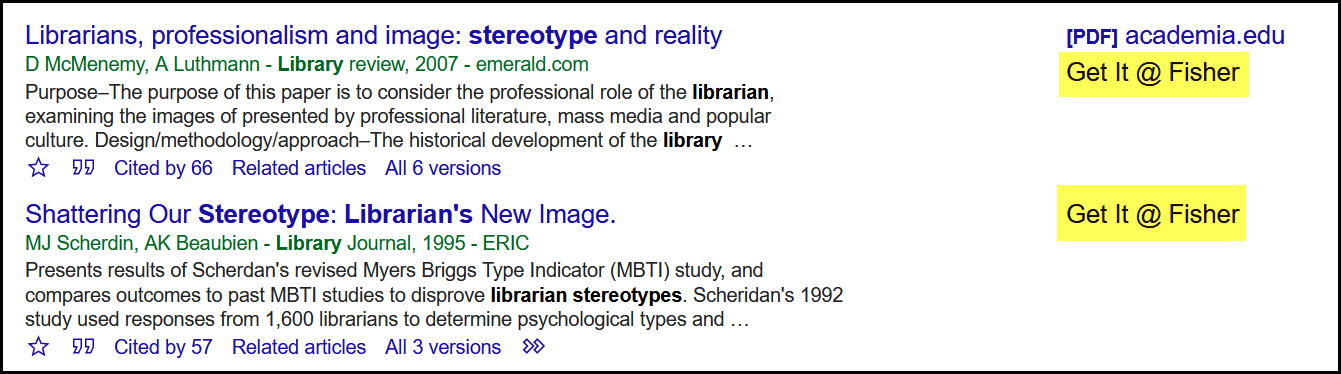 Google Scholar search results for two articles. Each article features Get it @ Fisher link.