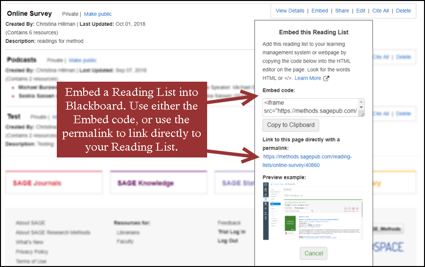 Embed a reading list into blackboard.  Use either the embed code, or use the permalink to link directly to your reading list