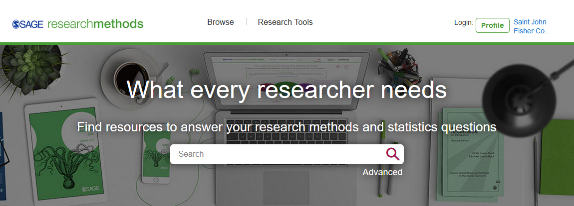 image of the home page of Sage Research Methods