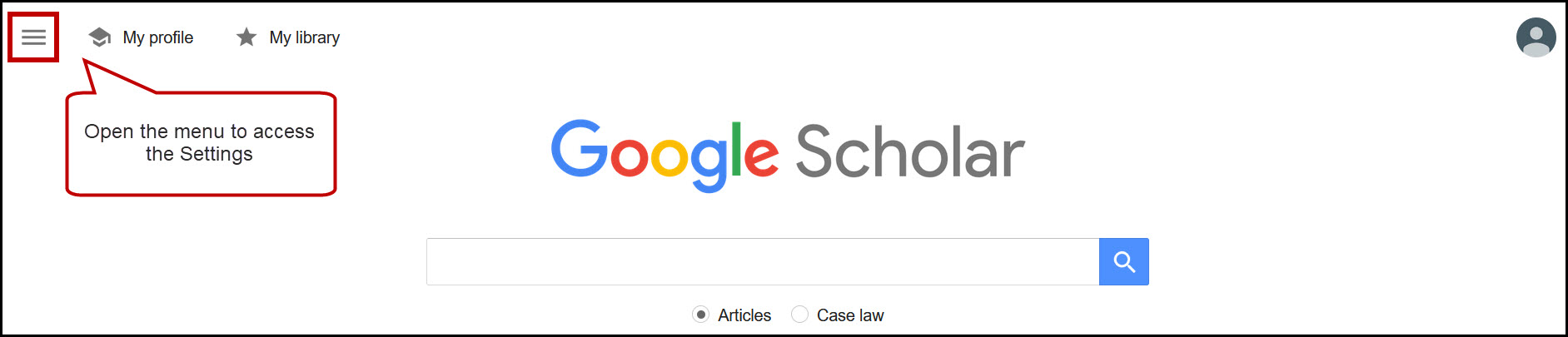 Google Scholar home page with main menu icon circled.