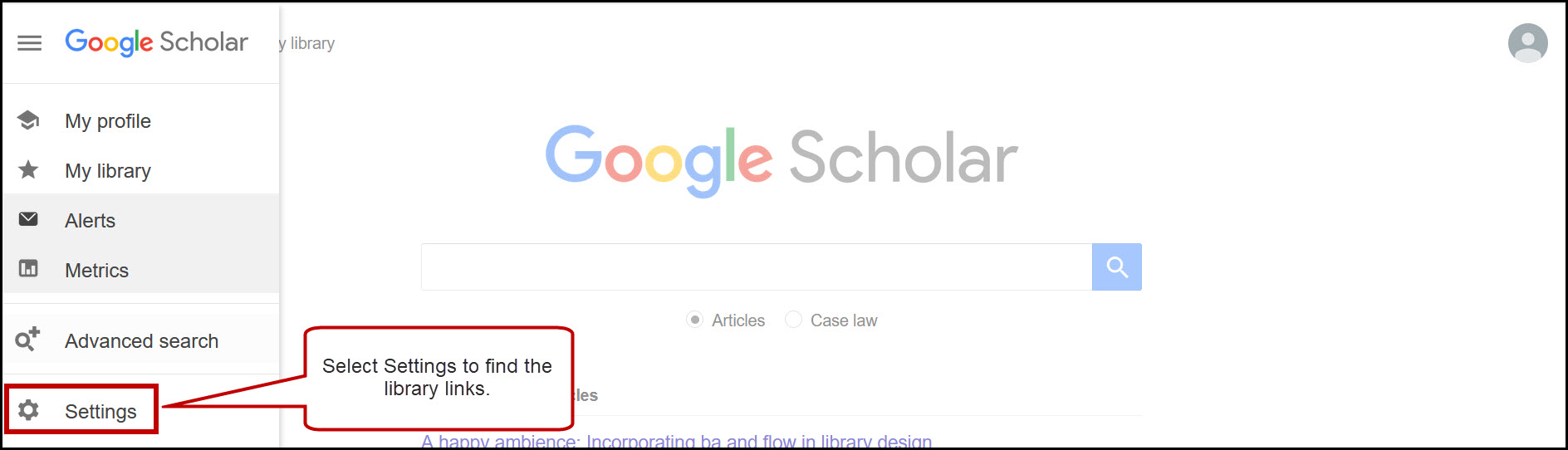 Google Scholar home page with the menu open, and Settings option circled.