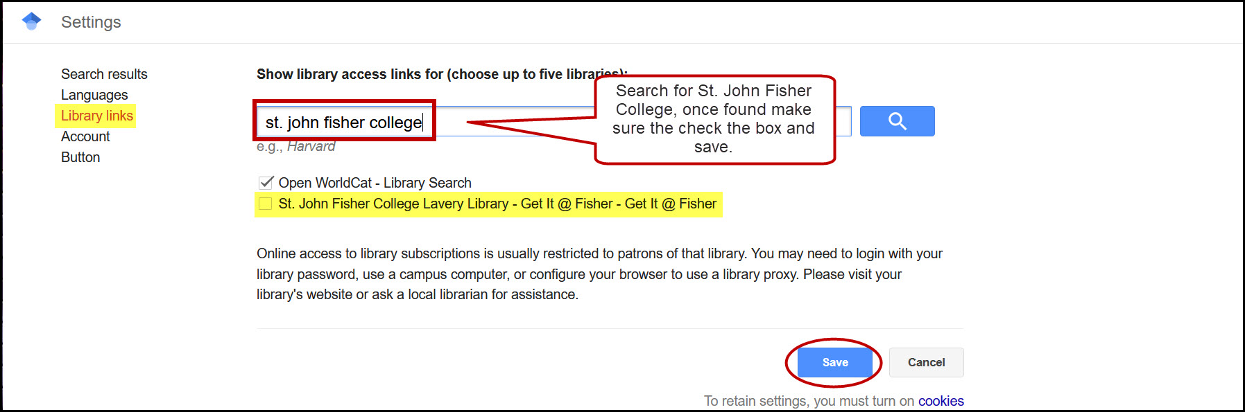 Settings menu page with Library Links menu highlighted. St. John Fisher College is typed into the search bar, and the St. John Fisher College Lavery Library - Get It @ Fisher - Get it @ Fisher option is highlighted.