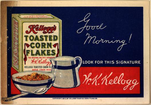 Illustration advertising Kellogg's Toasted Cornflakes in 1915
