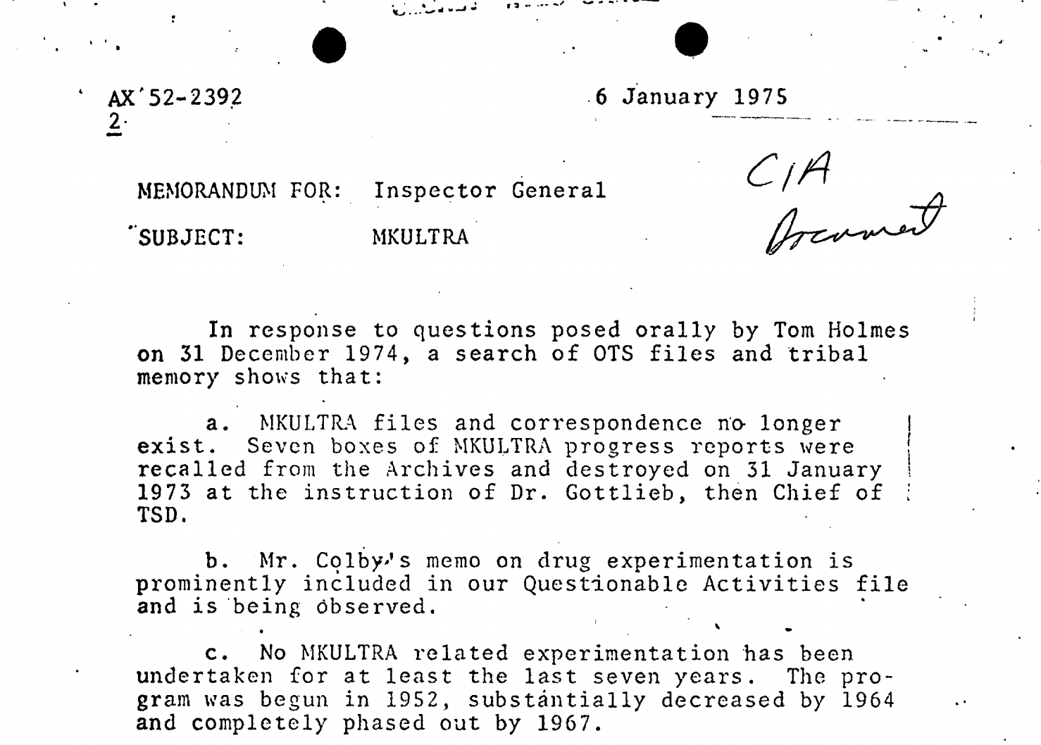 Government document showing details about the MKULTRA project
