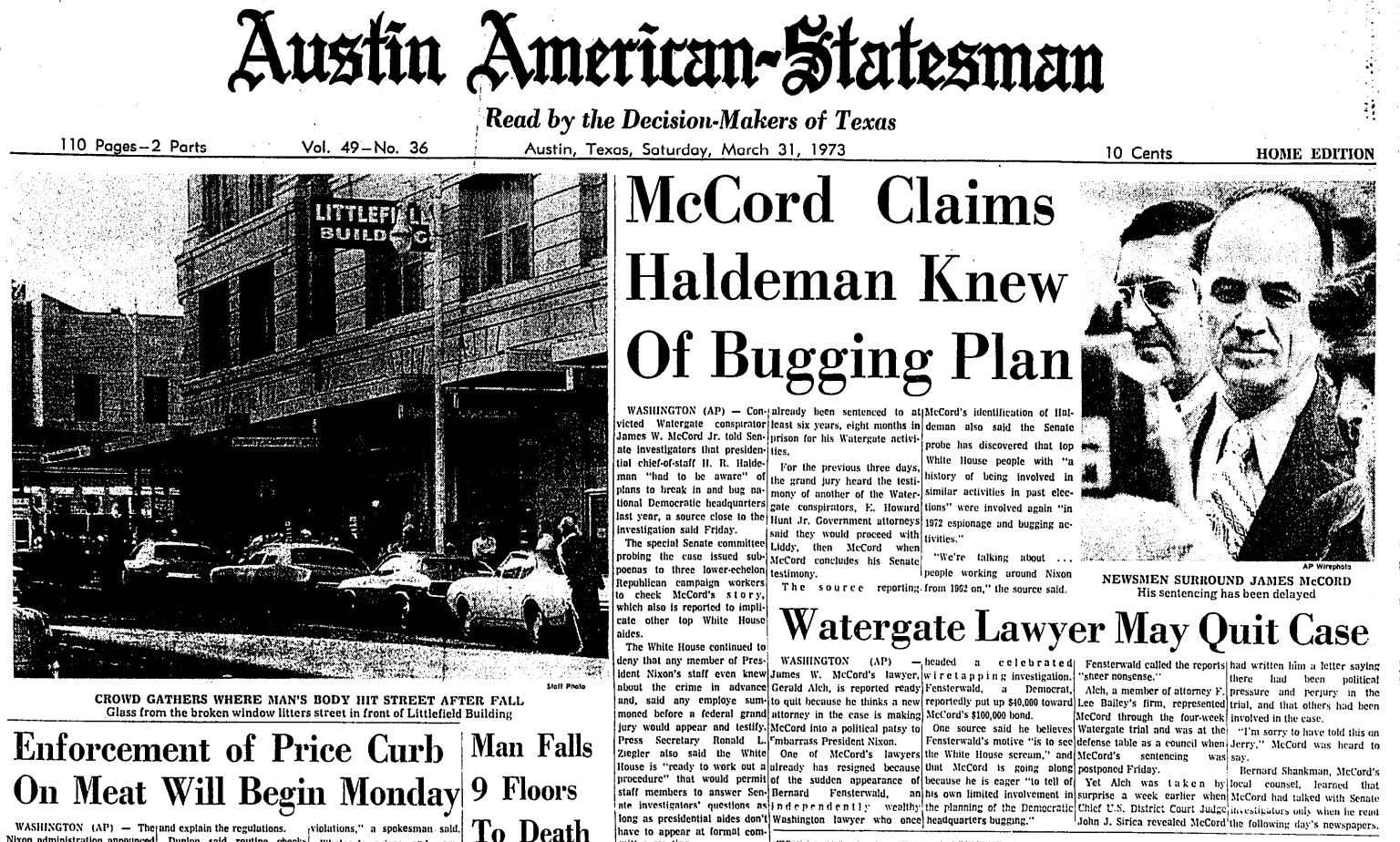 Front page of Austin-American Statesman, covering the Watergate scandal in 1973