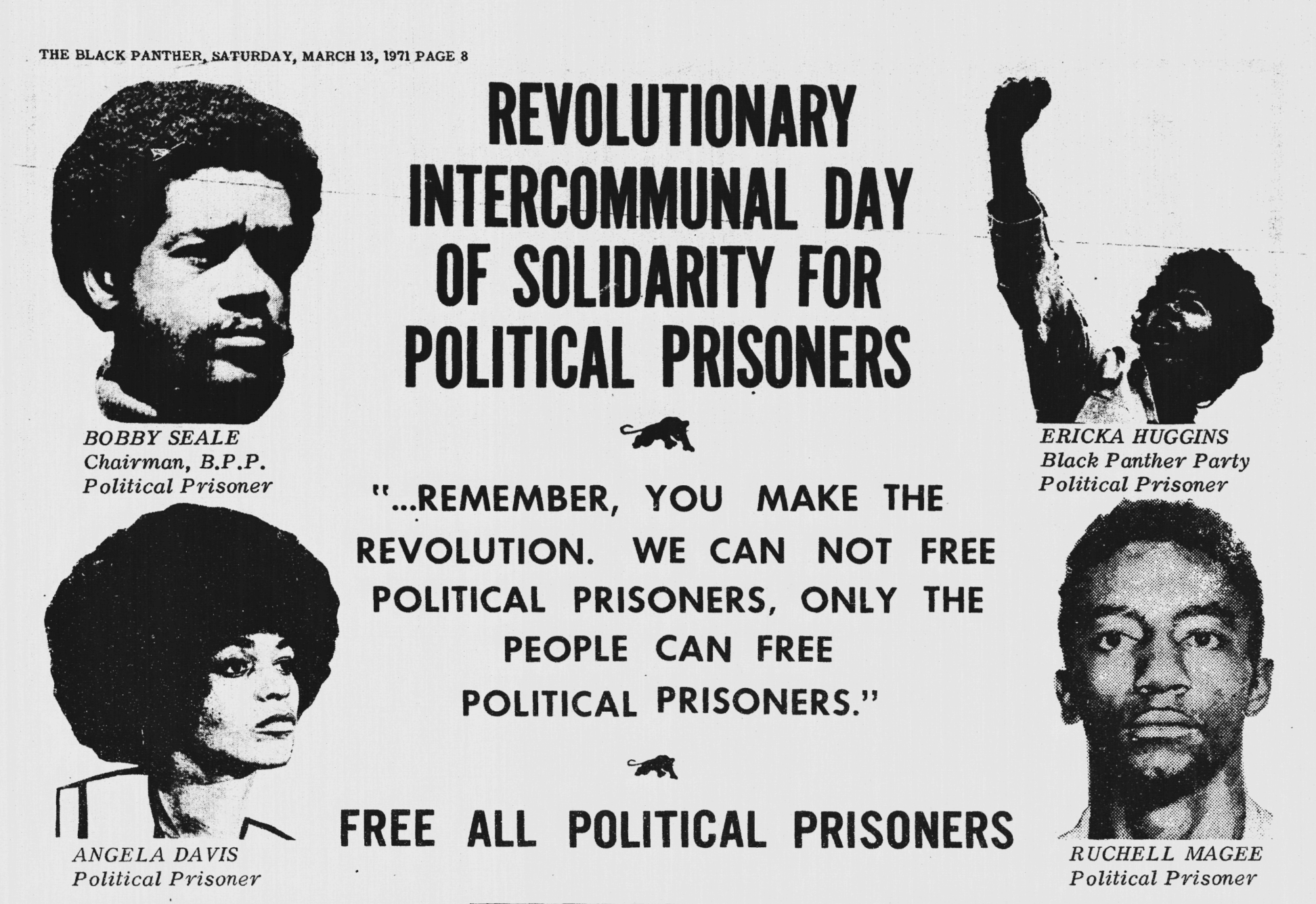 Image of excerpt from The Black Panther newspaper, advertising for a day of solidarity for political prisoners; includes photos of Angela Davis, Bobby Seale, Ericka Huggins and Ruchell Magee