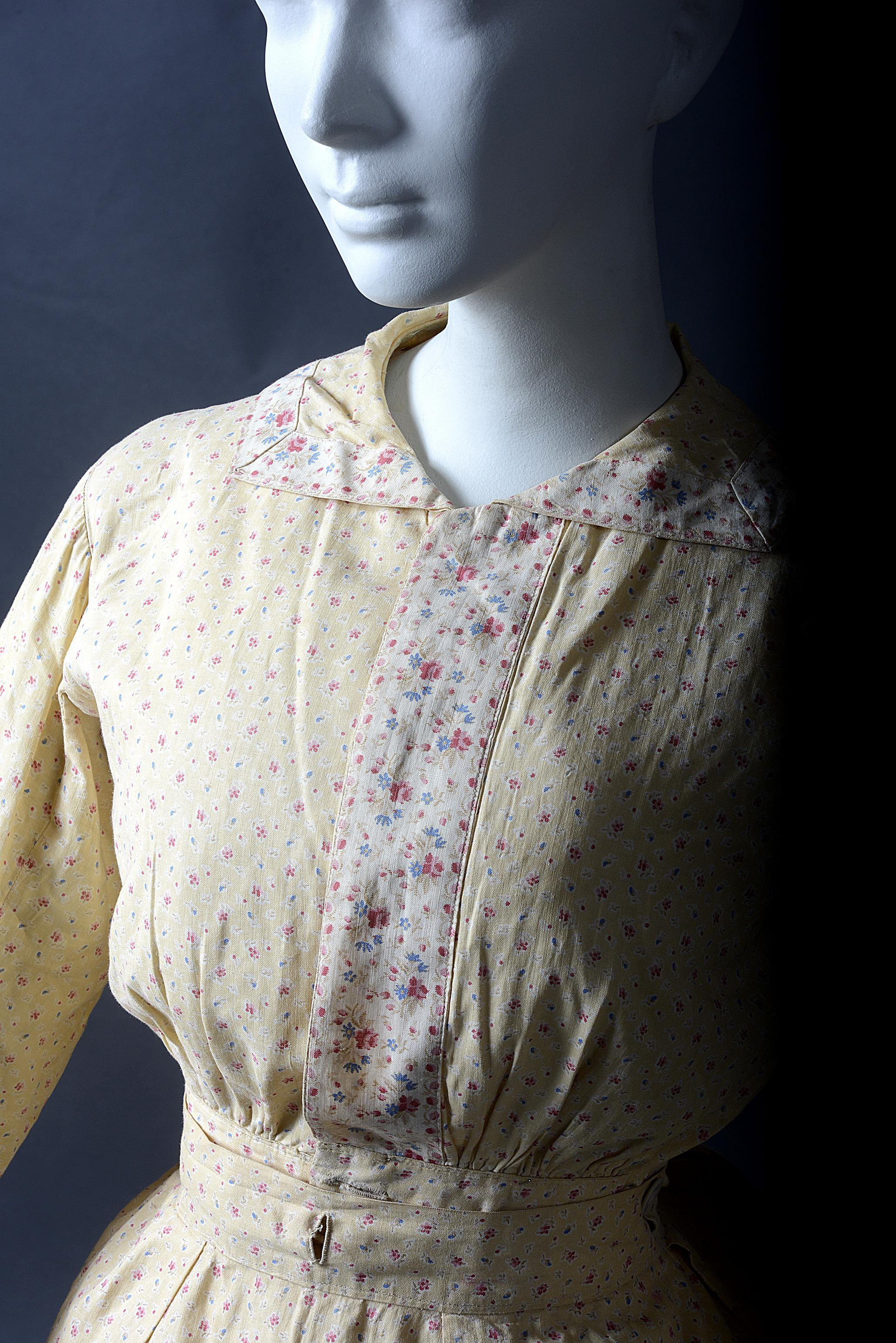 Woman's day dress ensemble: bodice, skirt, overskirt, sash, SC Historic Clothing Collection