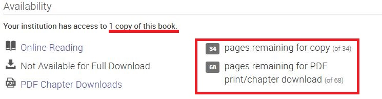 Red underline of concurrent user access, and red box around page limits for copying, printing and downloading