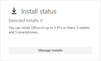 Office 365 Install status, manage installs