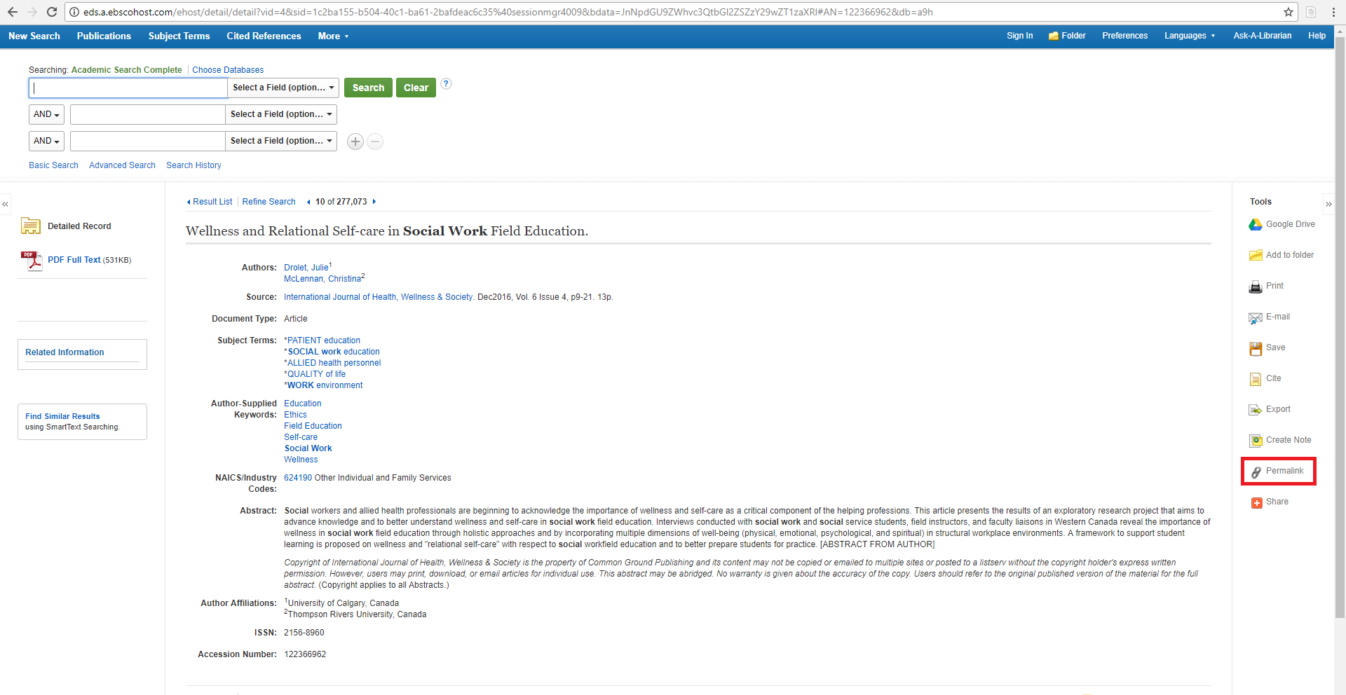 """An example of an EBSCO database article result with a red box around the left hand side link icon and """"Permalink"""""""