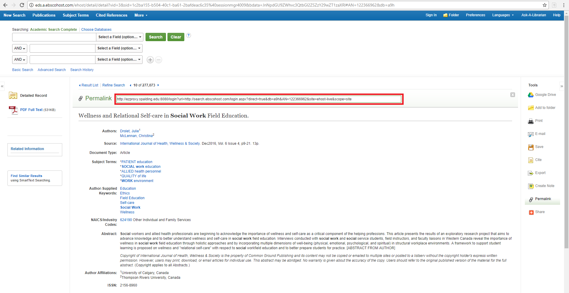 An example of an EBSCO database article record with red box around the permalink URL that appears above the record details.