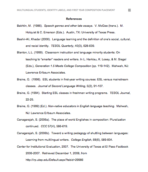 References page for APA style.