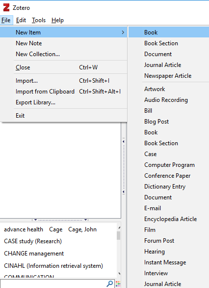 "Example of adding a new Zotero item manually by selecting ""File"" > ""New Item"" > and the item type."