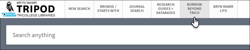 Tripod menu bar containing Borrow Beyond TriCo link